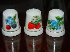 3 VINTAGE WHITE PORCELAIN THIMBLES FEATURING FLOWERING FRUITS