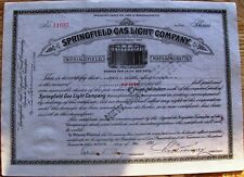 Stock certificate Springfield Gas Light Company 1920s State of Massachusetts