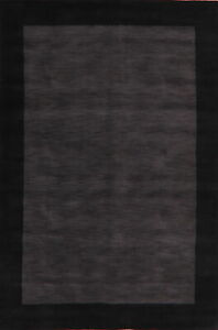 Bordered Modern Gabbeh Oriental Area Rug Hand-knotted Contemporary 6'x9' Carpet