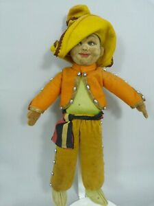 Vintage 1930s Norah Wellings Mexican boy character doll glass eyes - 15 inches
