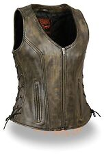 Ladies Zipper Front Distressed Brown Side Lace Leather Vest w/ Zippered Pockets