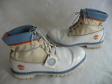 TIMBERLAND Mens Hiking Outdoor Work Boots 13M White Beige Blue Leather Fabric