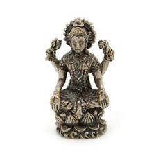 "TINY WHITE BRONZE LAKSHMI STATUE 1.25"" Miniature Hindu Goddess Talisman Laxmi"
