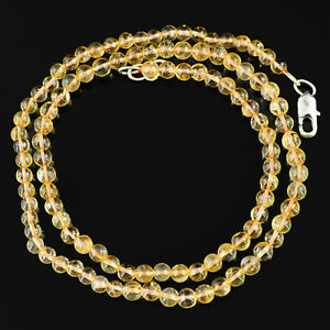 106.00 CTS NATURAL RICH YELLOW CITRINE ROUND SHAPE BEADS NECKLACE (DG)