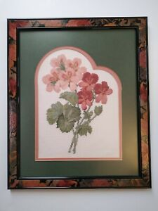 """Finished Counted Cross Stitch Geraniums Framed Double Mat Completed 17 """"x 14"""""""