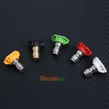 """5 Pack/set High Pressure Washer Spray Nozzle Tips Variety Degrees 1/4"""" Connector"""