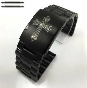 Stainless Steel Black Bracelet Replacement Watch Band Strap Engraved Cross #5016
