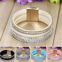 hot new Leather Wrap Wristband Cuff Punk Crystal Magnetic Bracelet Bangle ONE