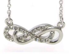Infinity Necklace Crystal  Double Infinity White Gold Plated Designer Inspired