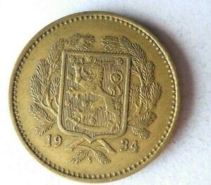 1934 S FINLAND 10 MARKKAA - RARE DATE - High Value Coin - Lot #S19