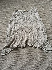 ladies size xs/s hollister light brown crocheted poncho / shawl