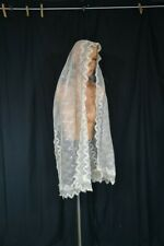 antique shawl lace mantilla scarf long fichu 20x74 white Victorian original 1800