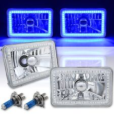 4X6 Blue SMD LED Halo Angel Eye Headlight Headlamp 60w Halogen Light Bulbs Pair