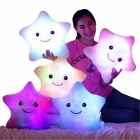 Small Smile Colorful Stars Luminous Pillow Kids Toys Led Light Cushion Gift Glow