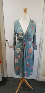 FAT FACE 16 Dress BNWOT V neck fit and flare green empire calf 3/4 sleeve