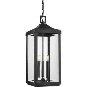 Progress Lighting 550004-031 Street 3-Light Black Pendant Light Hanging Lantern