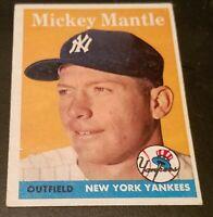 1958 Topps #150 Mickey Mantle  HOF New York Yankees