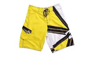 BILLABONG Mens Boys Pants Shorts White Yellow Black Size 32 Casual Outdoor Swim