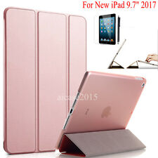 "Rose Gold New iPad 9.7"" 2017 Slim Magnetic Smart Leather Case Clear Back Cover"
