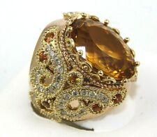 Oval Orange Citrine, Sapphire & Diamond Solitaire Ring 14K Rose Gold 20.66Ct