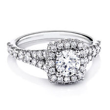 1.20 ct Fine Diamond Engagement Rings Solid 14K White Gold Band Round Size H, M,