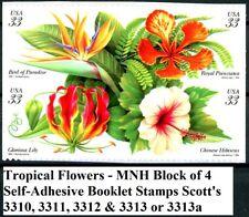 Tropical Flowers MNH B4 Bird Paradise Lily Hibiscus Poinciana Scotts 3310 - 3313