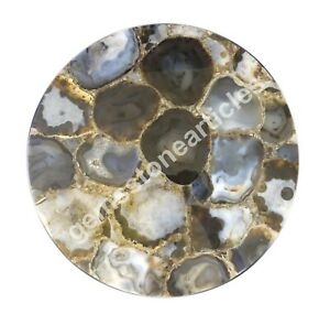 "15""x15"" Round Wild Agate Stone Kitchenware Table Top Wedding Gift For Her Decor"