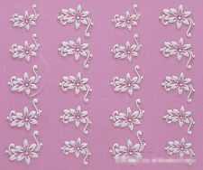 Nail Art Stickers Decal 3D Beauty White Flower Bling Clear Crystal