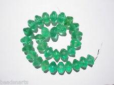 Antique Bohemian Emerald Green Vaseline bicone Trade Beads - 15x11mm - 30