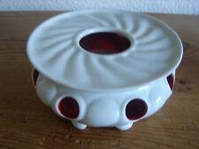 antikes Stövchen, Gerold Porzellan 5566, weiß und innen rot