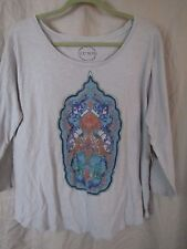 LUCKY BRAND BOHO INDIA 3/4 SLEEVE T SHIRT TOP XL NWT