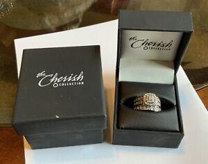 The Cherish Collection Diamond Wedding Ring Set 10k White Gold