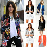 UK Womens Crop Slim Fit Peplum Blazer Suit Jacket Coat Ladies Casual Top Outwear