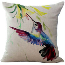 "1x 18"" Ink Painting Bird Cotton Linen Cushion Cover Throw Pillow Case Home Decor"