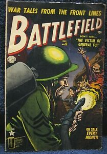 BATTLEFIELD #6 (1952) - SCARCE Flame Thrower cover, Graphic War Scenes.