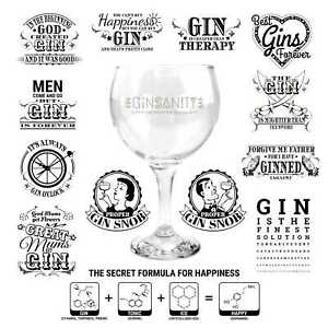 Ginsanity 22oz (645ml) Gin Balloon Copa Glass Cocktail - Various Printed Message