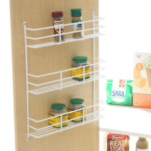 Spice Rack 3 Tier White for Kitchen Cupboard Pantry Door Storage