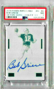 2015 Panini Impeccable.Bob Griese Victory Auto - Cyan Printing Plate PSA 7 1/1