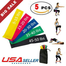 5 Resistance Bands Loop Set Exercise Workout Cross Fit Fitness Yoga Booty Leg Ba