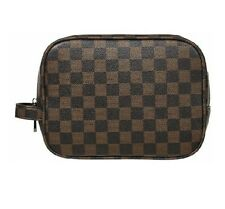 Luxury Checkered Make Up Bag Vegan Leather Cosmetic Toiletry Travel Trending Hot