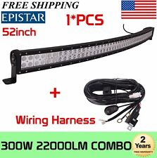 52INCH 300W CURVED LED Work Light Bar Flood Spot Combo Track+Wiring Harness Kit