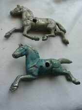 Vtg Cast Metal Toy Horses Lot for Horse Drawn Wagon Chrome Brass Parts