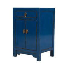 Blue Chinese Bedside Cabinet Shandong Style