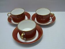 Fitz & Floyd RONDELLE-TERRA COTTA Cups and Saucers / Set of 3