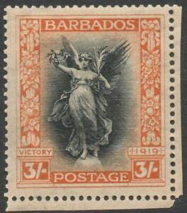 BARBADOS: 1920-21 Sg 211 Victory 3/- Black & Dull Orange M.Mint Cat £55 (38569)