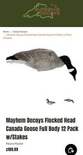 Mayhem Decoys Flocked Head Canada Goose Full Body 12 Pack w/Stakes - New
