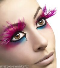 Ladies Sexy Long Pink Feather False Eyelashes Drag Queen TV Hen Do Fancy Dress