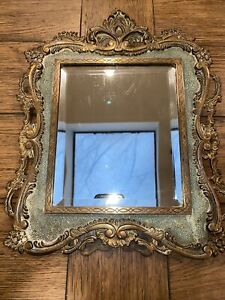 "1800's French Ornate Framed BRONZE Beveled MIRROR   FRAME Heavy Sturdy 14X12"""