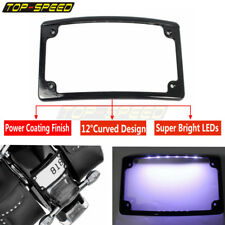 Motorcycle Curved LEDs License Plate Cover Frame Rear Bling Tag Cover Black NEW