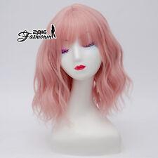 35CM Medium Light Pink Curly Lolita Women Synthetic Cosplay Heat Resistant Wig